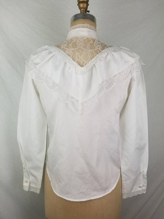 80s Victorian Edwardian blouse white medium 40 - image 5