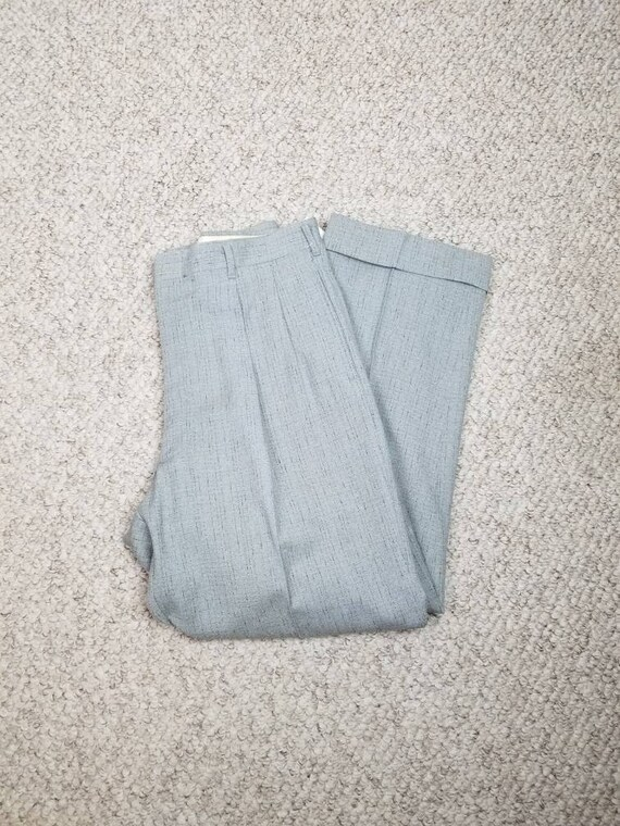 40s-50s pants, mens 34x28, light grey black plaid