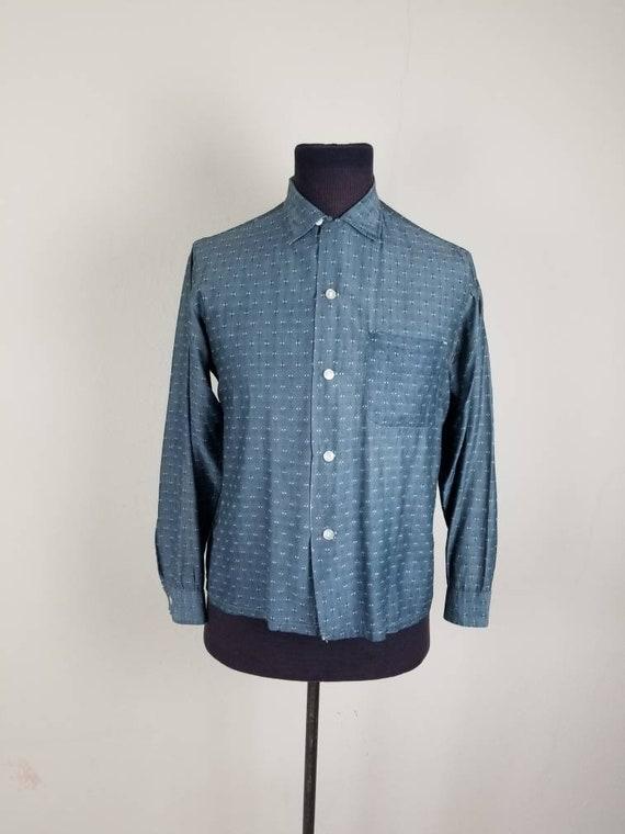 1950s mens grey silky dressy casual shirt