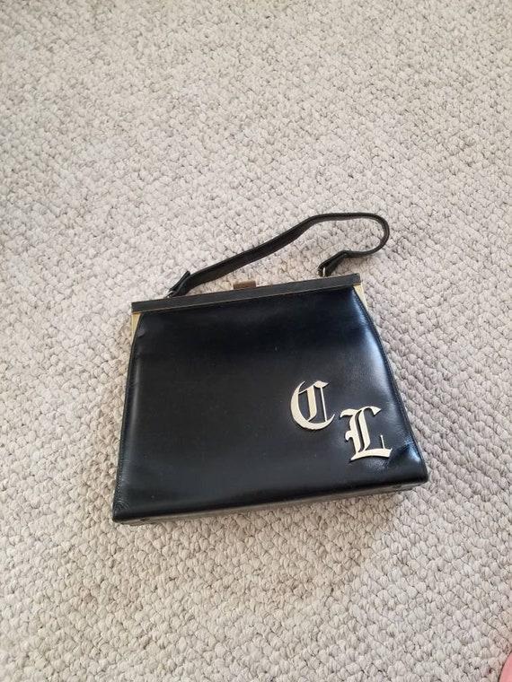 50s 60s purse, CL monogram, black, top handle bag - image 1