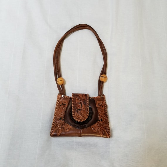 70s tooled purse, leather, great design, boho hipp