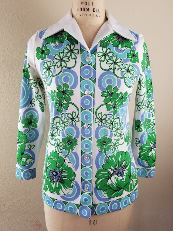 70s floral button up top polyester 38, butterfly … - image 2