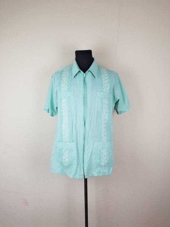 50s Guayabera shirt, men's large, light mint green
