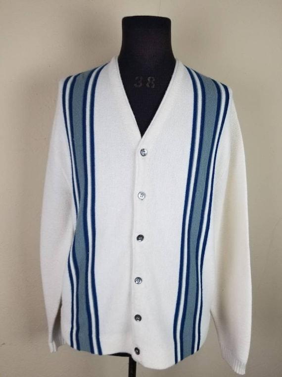 50s cardigan, mens varsity sweater, XL, alpaca kn… - image 2
