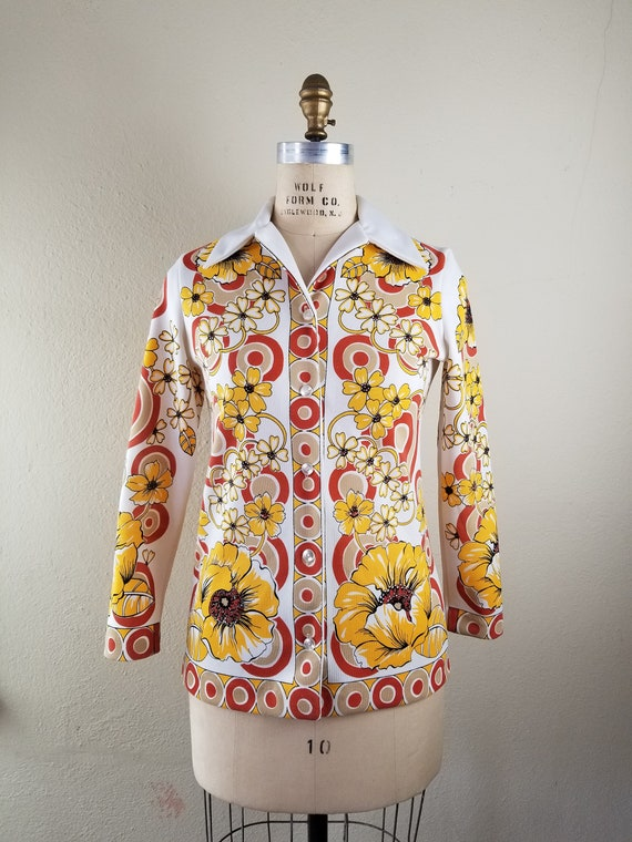 70s floral button up top polyester 38, butterfly c