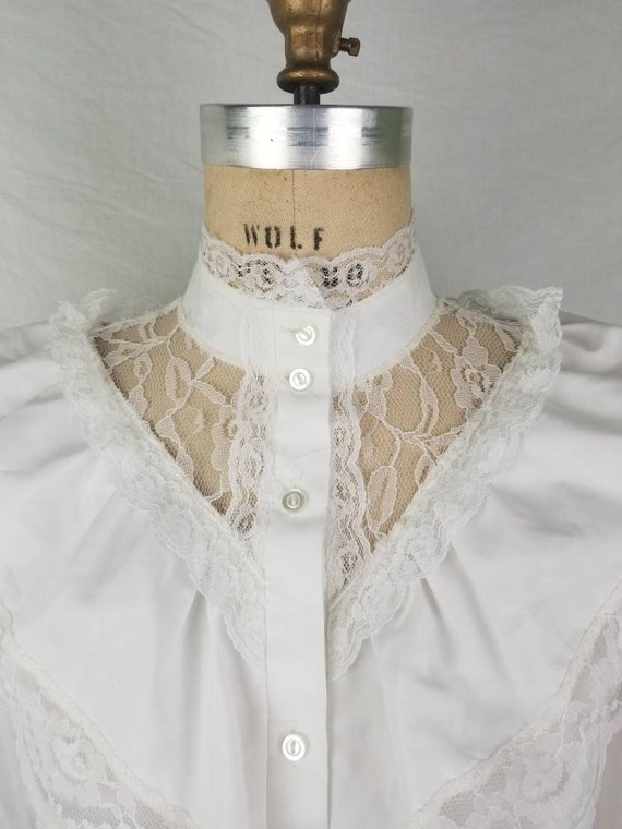80s Victorian Edwardian blouse white medium 40 - image 3