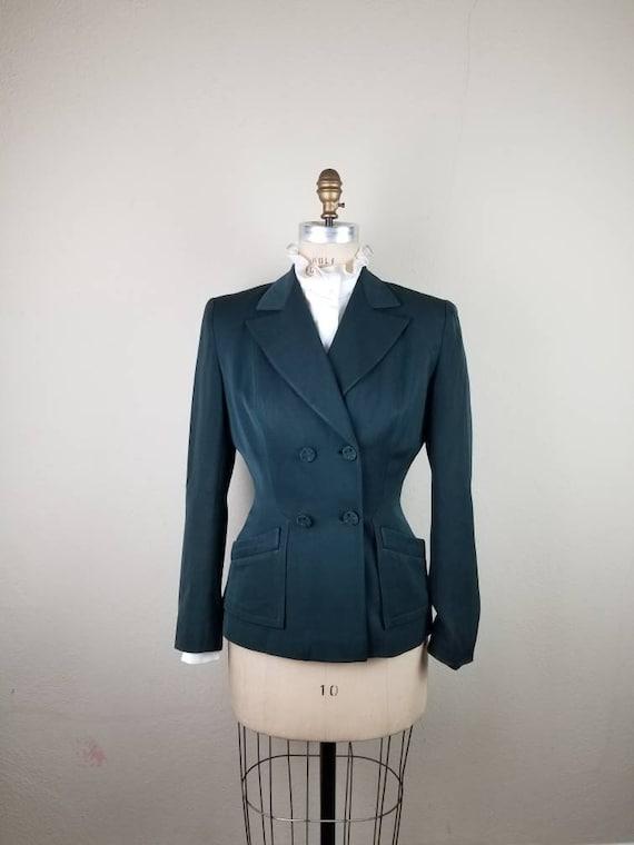 40s green blazer, ladies sportcoat, 40