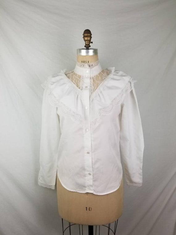 80s Victorian Edwardian blouse white medium 40 - image 1