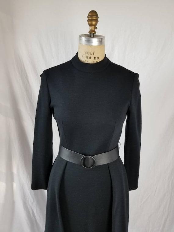 50s-60s Vintage dress, black wool with fringe trim