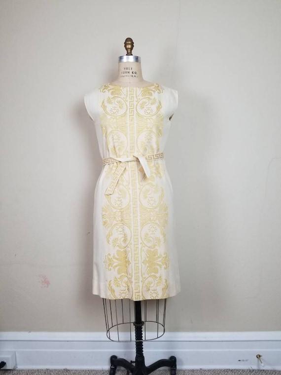 50s-60s beautiful dress, linen, hand woven, handma