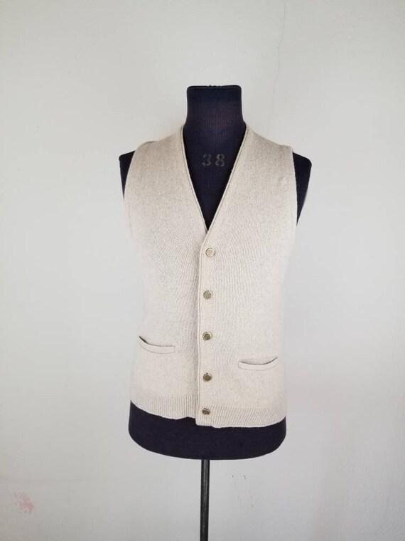 50s mens vest, cardigan sweater, medium 1950s 40