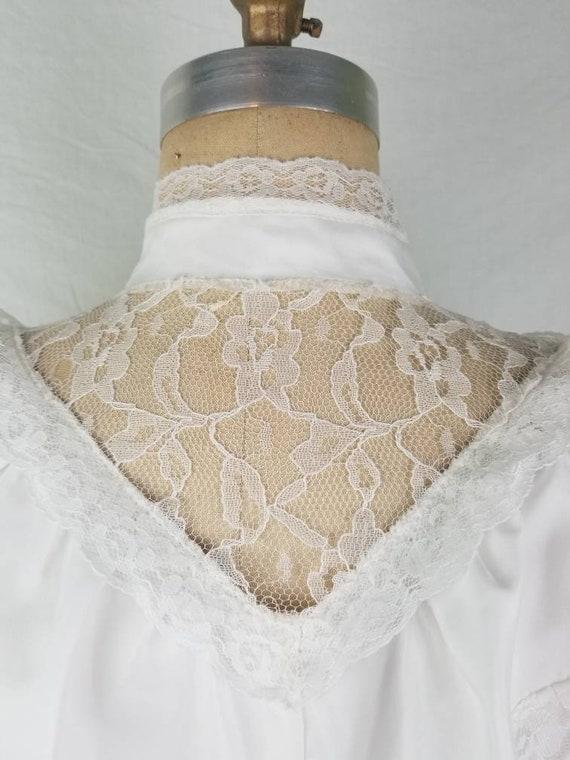 80s Victorian Edwardian blouse white medium 40 - image 4