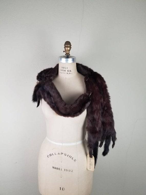 Vintage fur stole, mink wrap, mink fur stole, brow