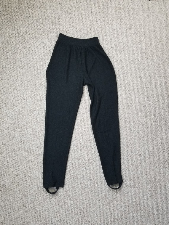 80s stirrup pants, black rayon