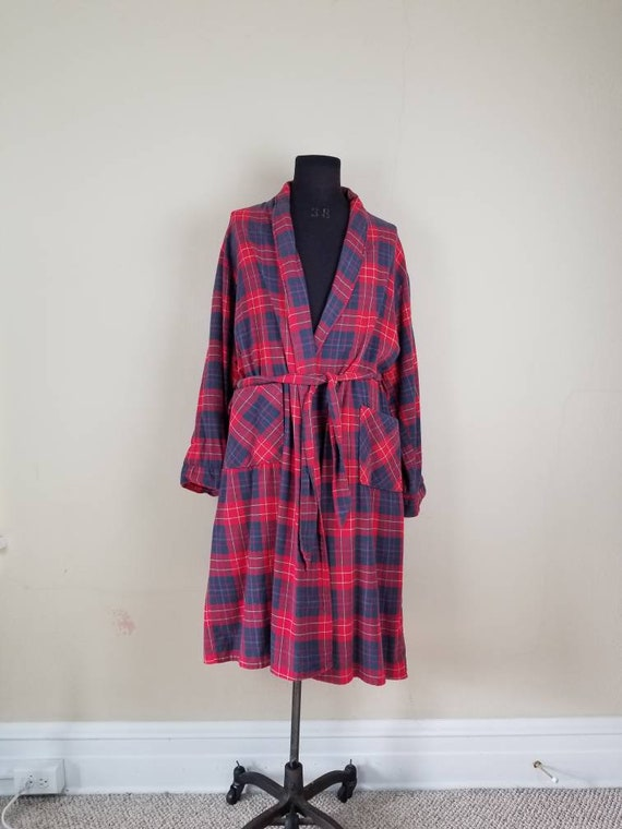 50s robe, mens 1950s flannel bathrobe, red blue pl