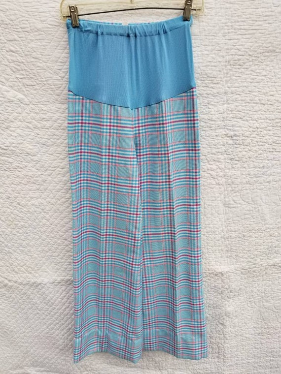 70s maternity pants aqua plaid bell bottom 8