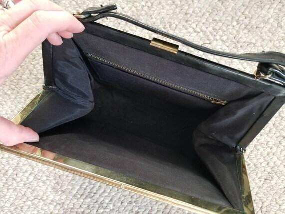 50s 60s purse, CL monogram, black, top handle bag - image 3