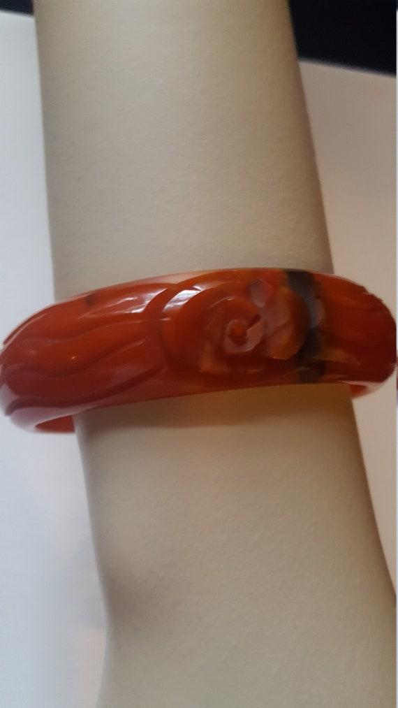 Vintage Carved Bakelite Bracelet, 1940's Bakelite