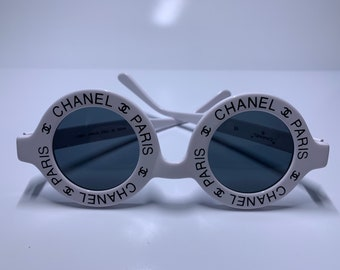 b997909154c vintage chanel white round sunglasses from 1994 01944 10601