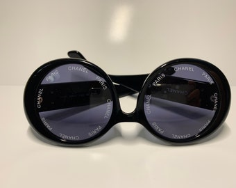 852fb93aea9 vintage chanel black round sunglasses 01949 94305 from 1994