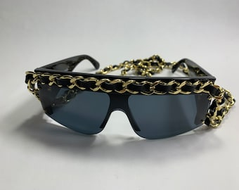 2321094609e vintage chanel long gold chain sunglasses from 1994
