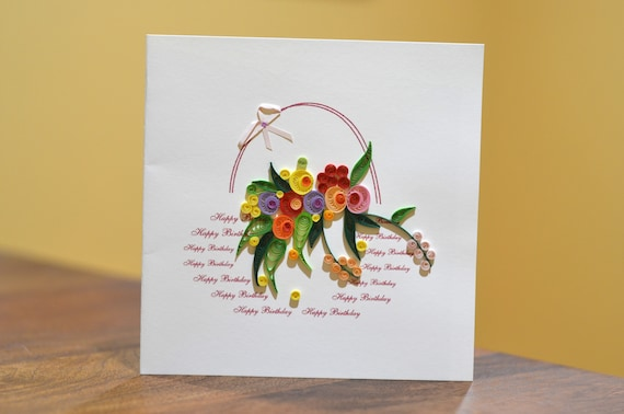 Marvelous Happy Birthday Paper Quilling Greeting Card Etsy Personalised Birthday Cards Cominlily Jamesorg