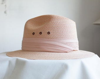 5238d543 Panama Straw Hat with Pink Ribbon by Ann Taylor & Madcaps Paris-New York