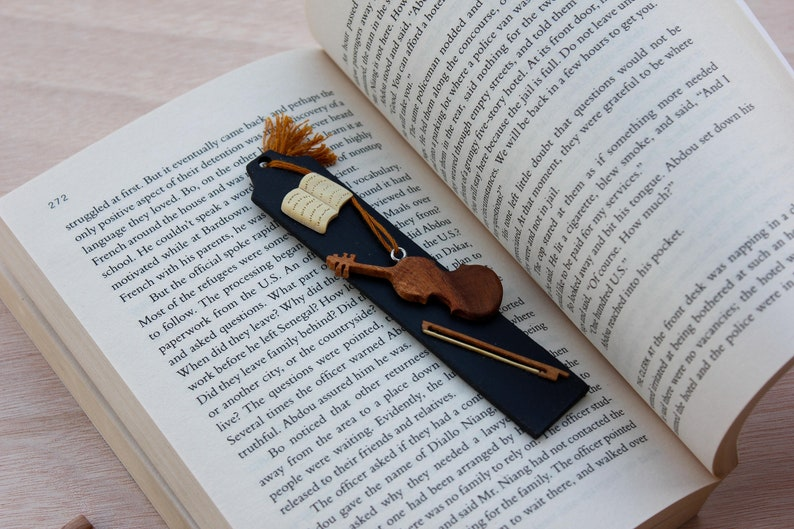 Wooden Handmade Bookmark for musician and Bookworm Unique image 0