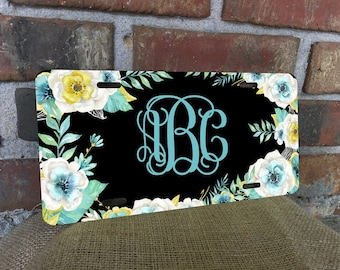 Mint and Gold Vanity License Plate Color Sublimation Custom Personalized Monogram Pink