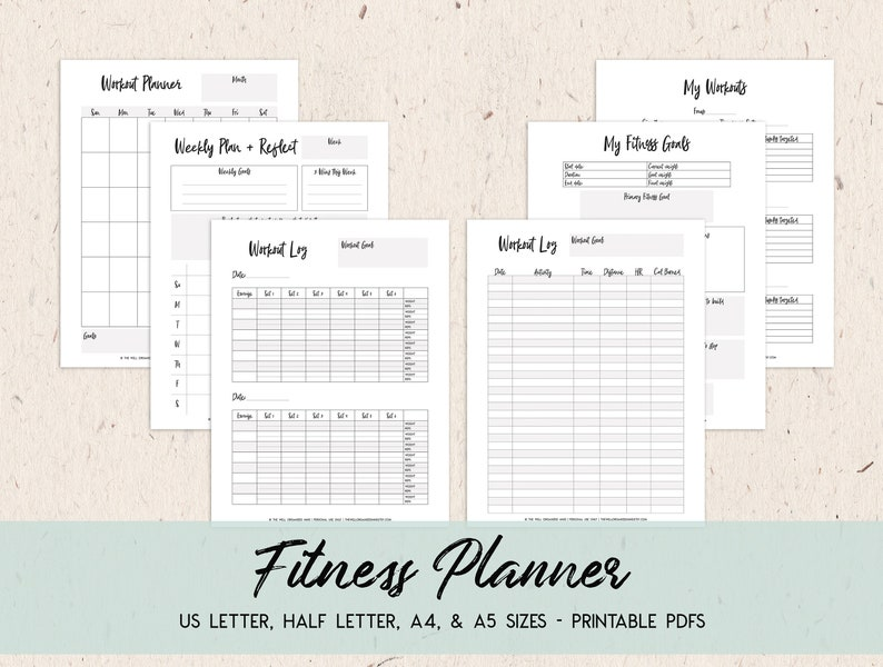 image relating to Printable Fitness Journal identify Conditioning Planner Printable Health Tracker Conditioning Magazine Work out Planner Undated Planner Physical fitness Function Planner