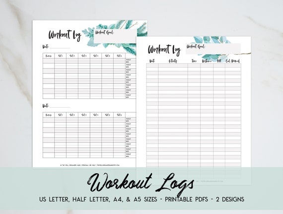 picture about Printable Workout Logs named Exercise routine Log Work out Tracker Botanical Printable Conditioning Planner Health Tracker Exercise Magazine Electronic Down load A5 Planner Inserts