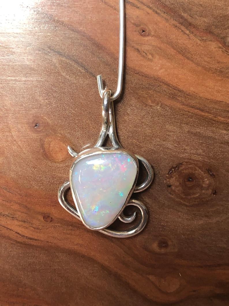 White opal sterling silver pendant