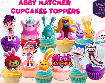 Abby Hatcher cupcakes toppers, abby hatcher party supplies, abby hatcher party printables, abby hatcher imprimibles