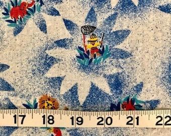 "40"" wide x 3 yards 30"" long lightweight cotton seersucker fabric, children's print featuring a safari motif in blue, red, yellow, white"