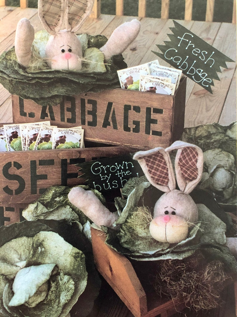includes steam-a-seam with the pattern UNCUT 1997 The Prairie Grove Peddler #150 Cabbage Head a 13 bunny head in cabbage leaves