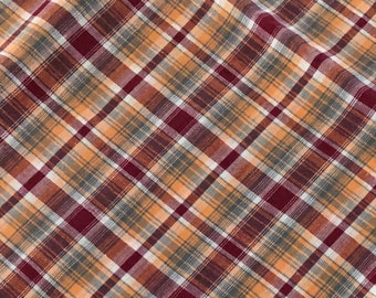 """42"""" wide x 2 yards 1"""" long (more--see photos) shirt-weight cotton or blend plaid fabric in wine, light orange, gray and white plaid"""