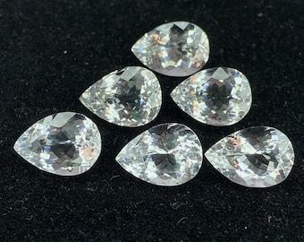 White Topaz Gemstone Cuts Wholesale #2866 White Topaz Faceted Cut Stone Pear Shape White Topaz Cut Stone,14x10x6 High Quality