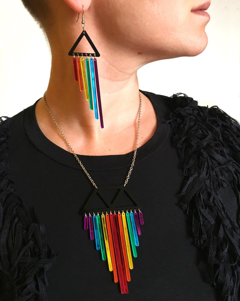 Pride Necklace Statement Rainbow Necklace Colourful Dangle Necklace Mardi Gras Necklace Laser Cut Acrylic and Stainless Steel