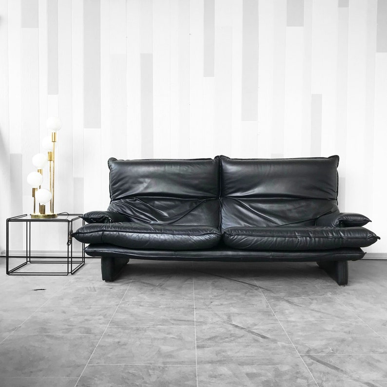Vintage Italian Leather sofa by Stella
