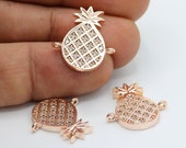 20x21mm Rose Gold Plated CZ Micro Pave Pineapple Pendant , CZ Pave Pineapple Charms , Cubic Zirconia Pineapple Bracelet Charms - CZ104