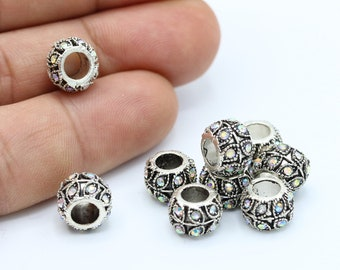 10pcs Clear AB Rhinestone Rondelle Beads Silver Plated Metal Spacers 6mm B35196