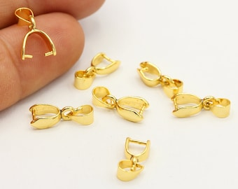 Gold Bail Small Bails 24 Gold Plated Bails Pendant Bails Small Closed Loop Bail Gold-Plated 42987 Jewelry Bails Metal Bails