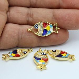 Pisces Pendant 3 Pcs 16x22mm 24k Shiny Gold Fish Charms Enamel Fish Charms CZ Bracelet Charms ZRCN647 Micro Pave Charms Fish Pendant