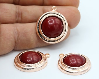 4x6mm Rose Gold Plated Charms Connector Claret Red Pendant RSG266