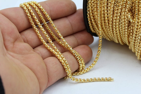 4x11mm 24 k Shiny Gold Plated Oval Chains Oval Rolo Chains CHN234 Soldered Chains