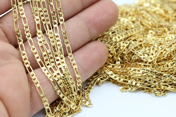 Flat Soldered Chains CHN67 4,5mm 24 k Shiny Gold Plated Curb Chains