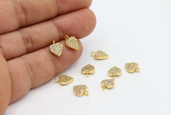Pave Charms 1pcs 8x11mm Micro Pave Round Pendant Cubic Zirconia Charms,Stone Jewelry ZRC-183 Connector 24k Gold Plated Pave Charms