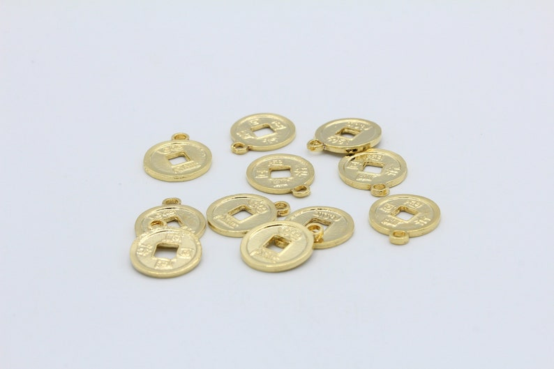 14x17mm Shiny Gold Plated Chinese Coins GLD112 Abundance Coins