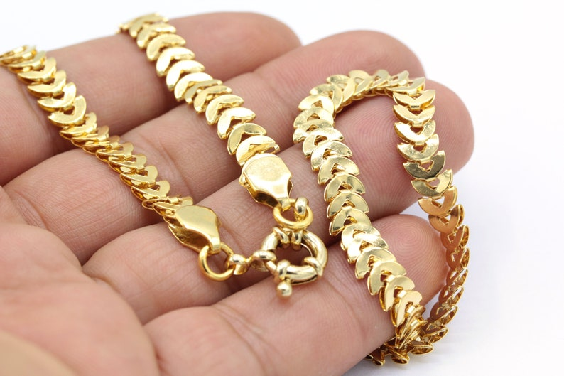 CHN414 Gold Plated Ready-Made Necklace, 6,5mm 24 k Shiny Gold Plated Finished fishbone Chain Finished Necklace