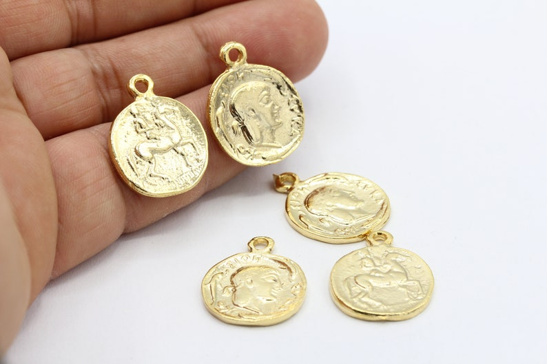 GLD110 18x23mm Shiny Gold Plated Greek Coins